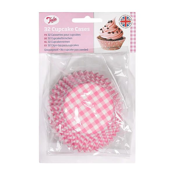 Tala 32 Pink Gingham Cupcake Cases