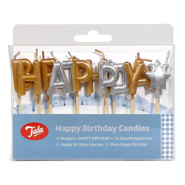 Tala Gold/Silver Happy Birthday Candles