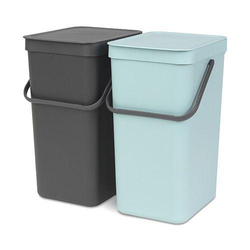 Brabantia Sort & Go Waste Bin 16 Litre Set Of 2 Mint & Grey