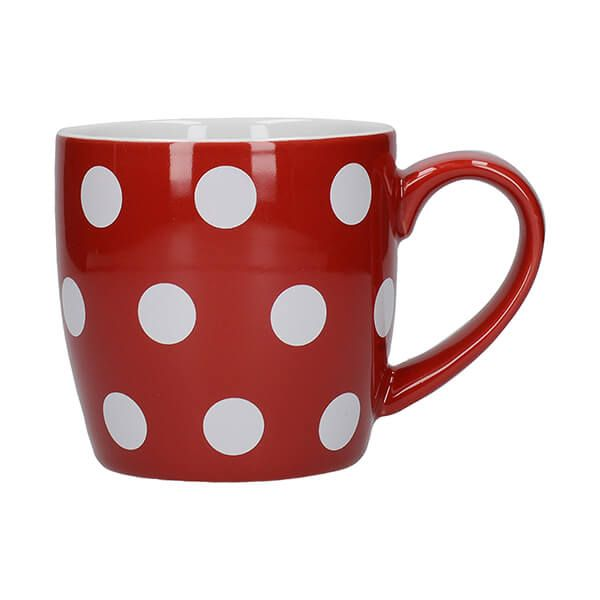 London Pottery Globe Mug Red With White Spots