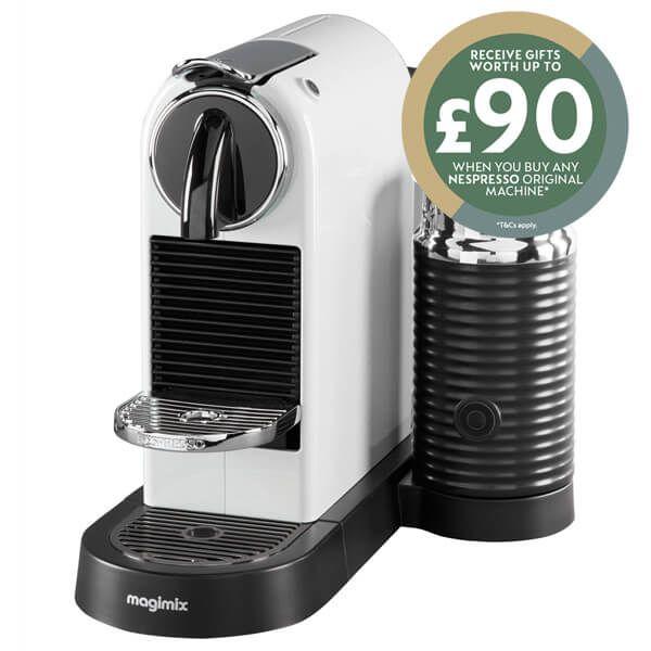 Magimix Nespresso Citiz & Milk White Coffee Machine with FREE Gift