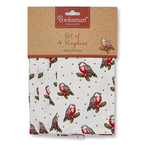 Cooksmart Red Red Robin Set Of 4 Napkins