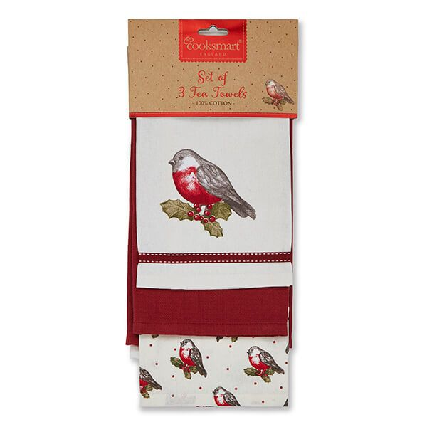 Cooksmart Red Red Robin Set Of 3 Tea Towels