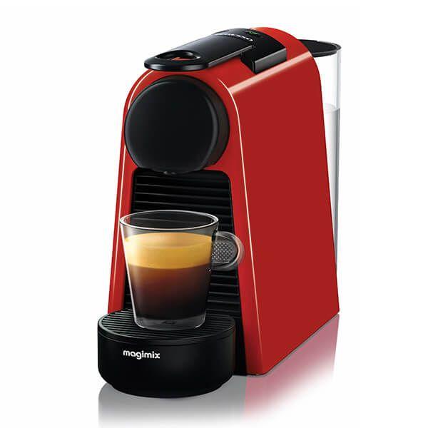 Magimix Nespresso Essenza Mini Ruby Red and Aeroccino Coffee Machine