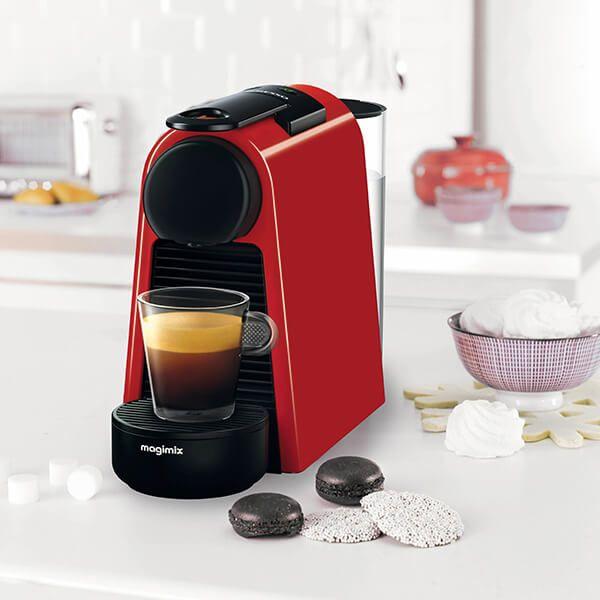 Magimix Nespresso Essenza Mini Ruby Red And Aeroccino Coffee Machine With Free Gifts