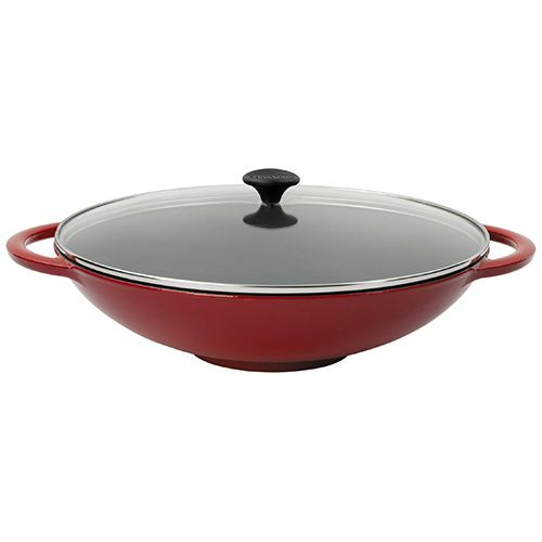 Chasseur Cast Iron Chilli Red 37cm Wok With Glass Lid Kit