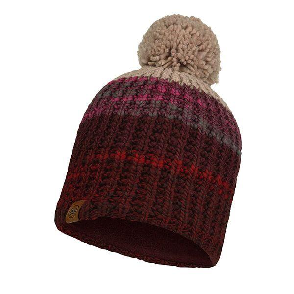 Buff Alina Rusty Maroon Knitted & Fleece Band Hat