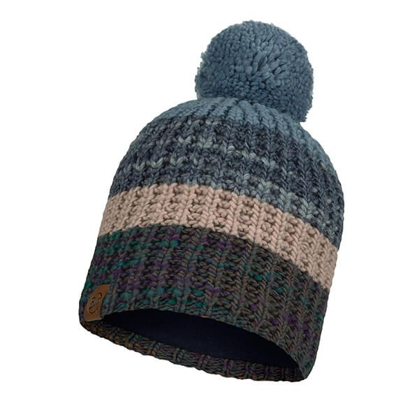 Buff Alina Rusty Blue Knitted & Fleece Band Hat