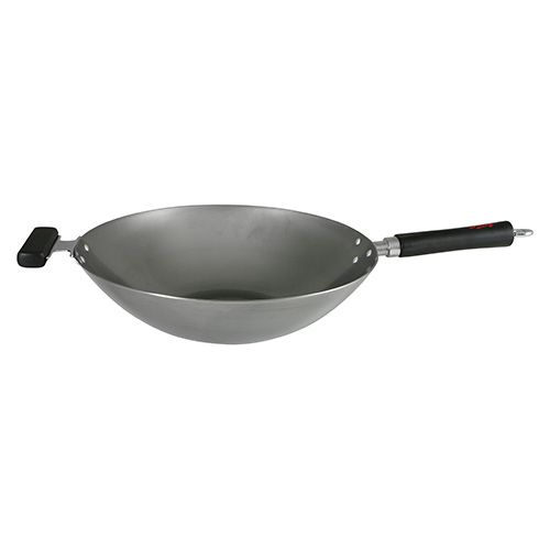 Dexam Swift Spice 34cm Heavy Gauge Carbon Steel Wok With Phenolic Stay Cool Handle