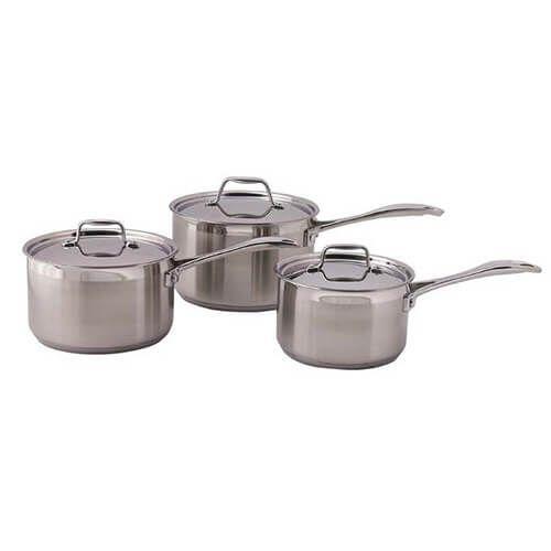 Dexam Supreme 3 Piece Stainless Steel Saucepan Set
