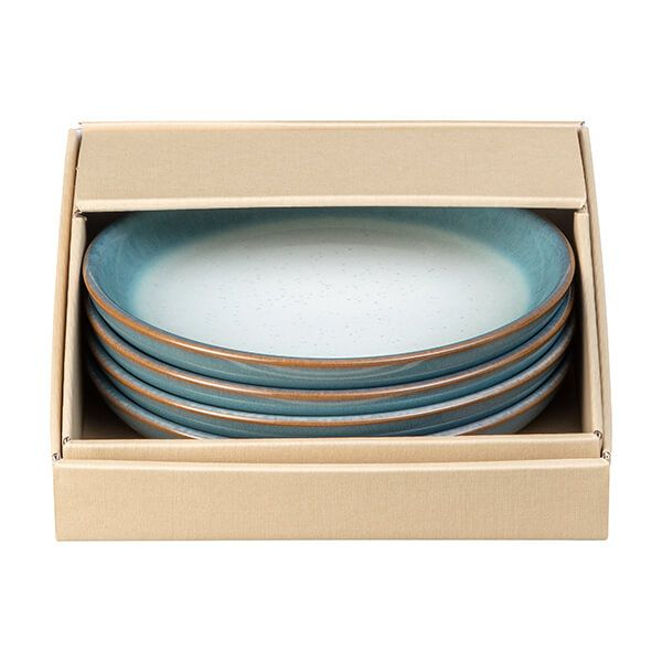 Denby Azure Haze 4 Piece Small Coupe Plate Set
