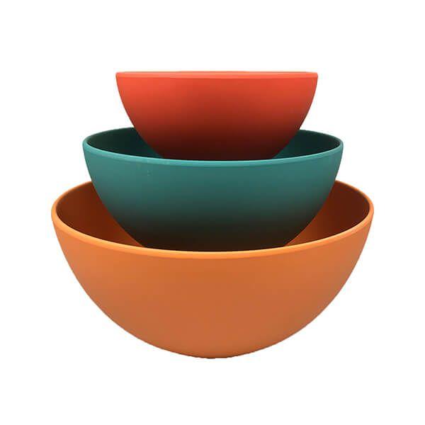School Of Wok Set Of 3 Bamboo Fibre Mixing Bowls