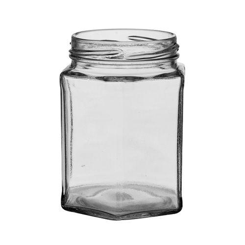 Set Of Six 12 oz Hexagonal Jars & Lids