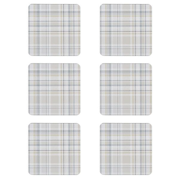 Denby Elements Checks Natural 6 Piece Coasters
