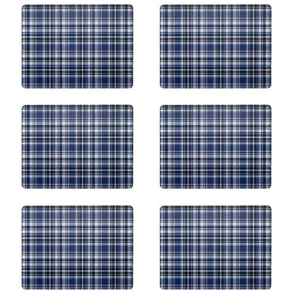 Denby Elements Checks Blue / Black 6 Piece Placemats