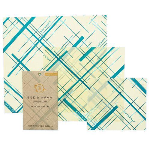 Bee's Wrap Geometric Print Set Of 3 Assorted Size Wraps