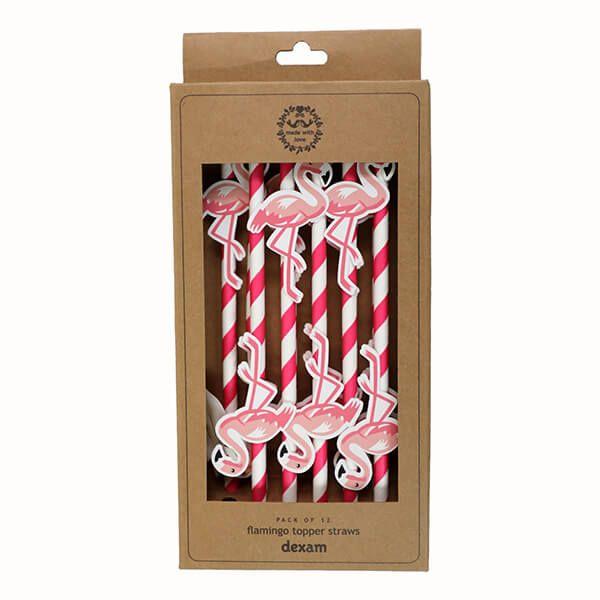 Dexam Summer Garden Pack Of 12 Flamingo Topper Straws