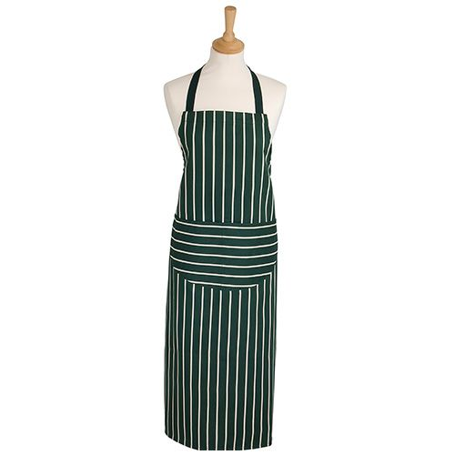 Dexam Rushbrookes Classic Butchers Stripe Adult Apron Long Green