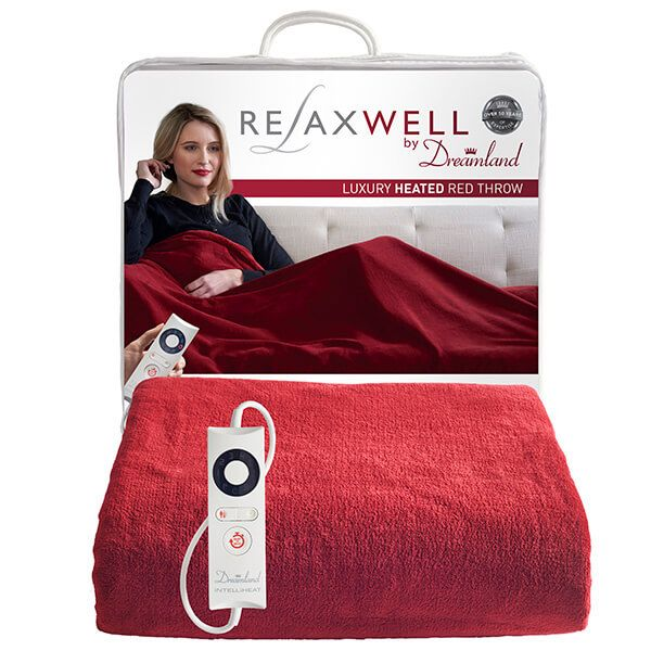 Relaxwell By Dreamland Luxury Heated Red Throw