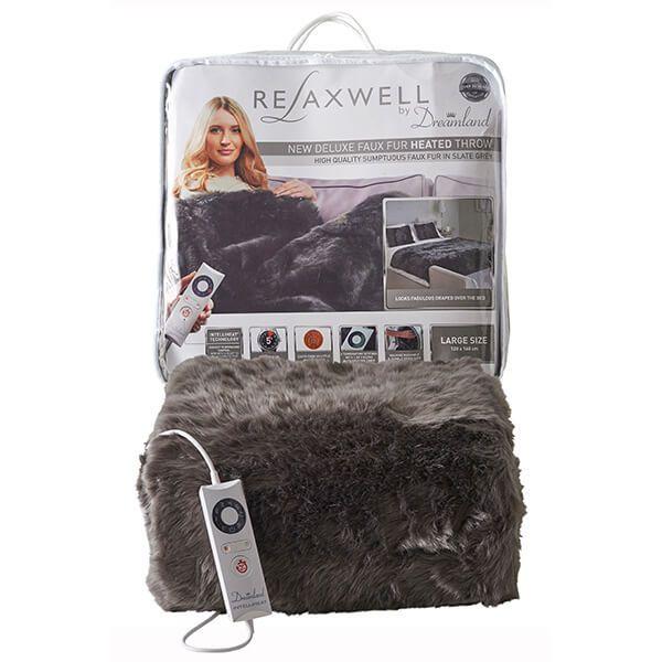 Relaxwell By Dreamland Luxury Grey Slate Superior Faux Fur Heated Throw