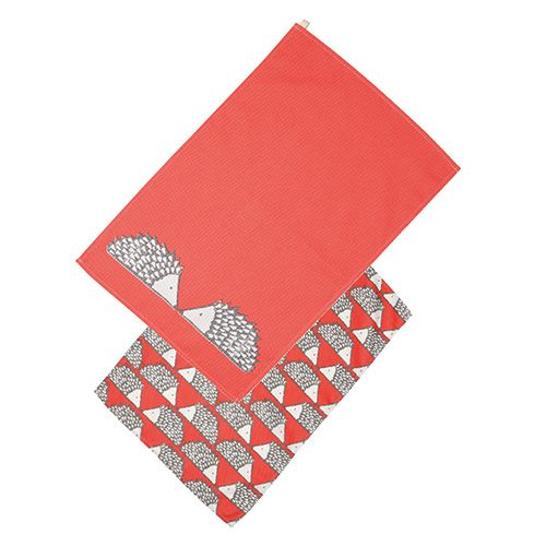 Scion Living Spike Set Of 2 Tea Towels Red