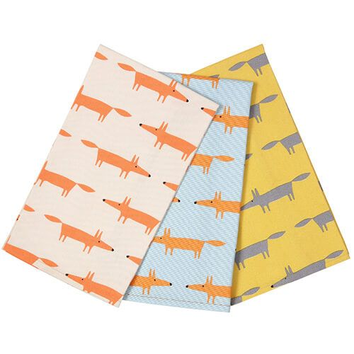 Scion Living Mr Fox Tea Towels Set Of 3