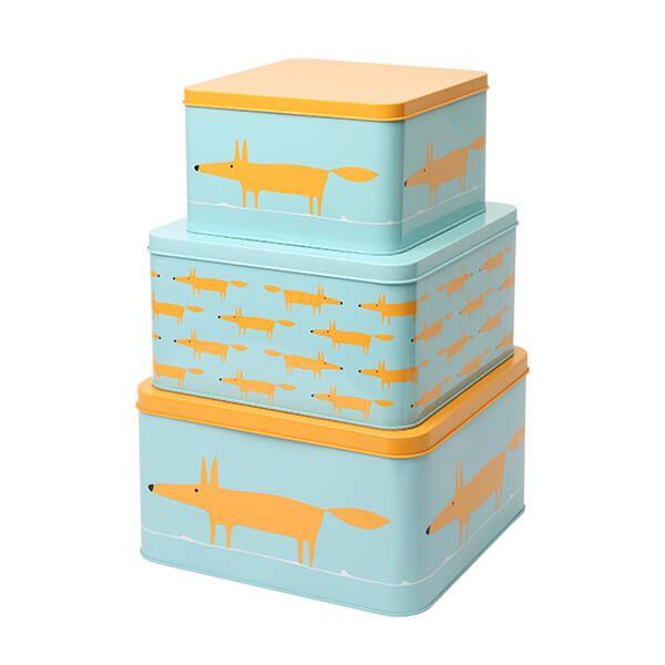 Scion Living Mr Fox Set of 3 Square Cake Tins Blue