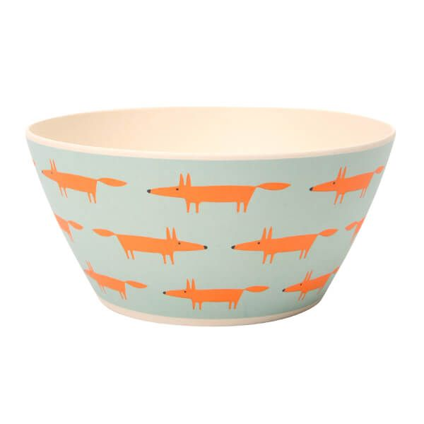 Scion Living Mr Fox Bamboo Set of 4 Cereal/Snack Bowls Blue