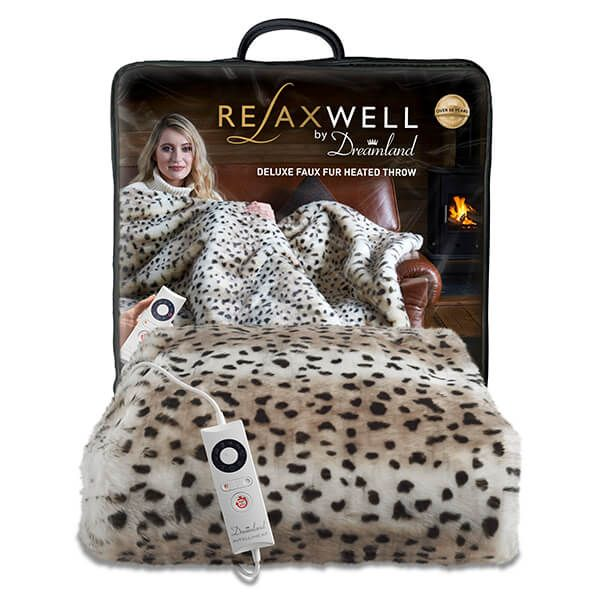 Relaxwell By Dreamland Deluxe Faux Fur Heated Throw Leopard