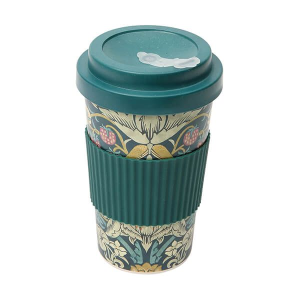 Morris & Co Bamboo Strawberry Thief Teal Drinks Mug 400ml
