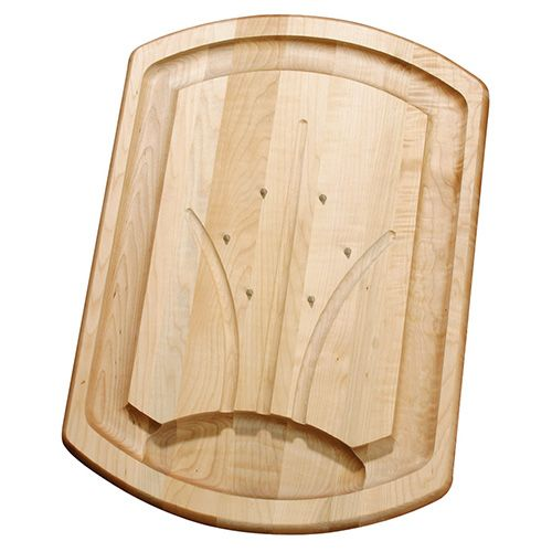 J.K. Adams Maple Wood Carving Board With Stainless Steel Spikes