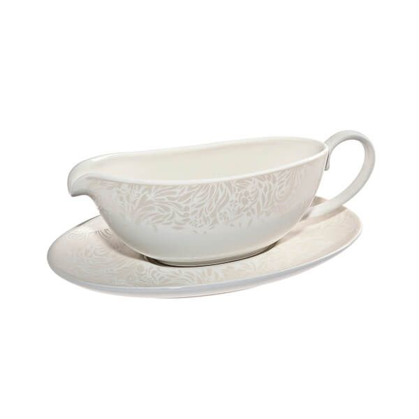 Denby Monsoon Lucille Gold Sauce Boat & Stand