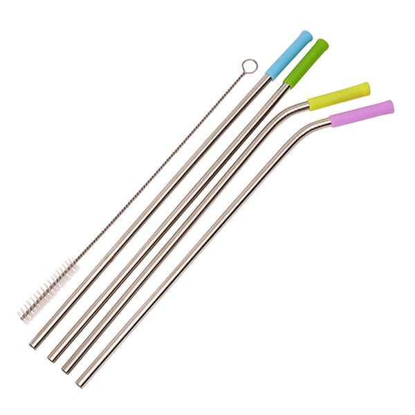 Dexam Set of 4 Stainless Steel Straws with Silicone Tips and Cleaning Brush