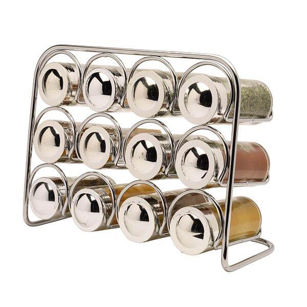 Hahn Pisa Premium Spice Rack with 12 Glass Jars