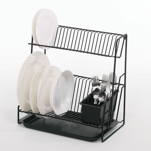 Delfinware Wireware Black 2 Tier Plate Rack