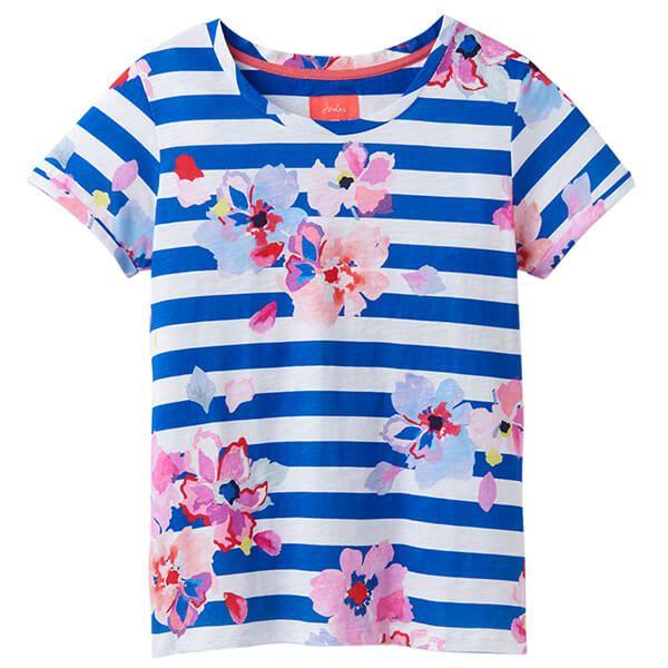 Joules Nessa Print Blue Stripe Floral Lightweight Jersey T-Shirt Size 14