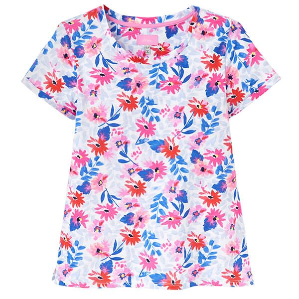 Joules Nessa Print White Multi Floral Lightweight Jersey T-Shirt Size 10