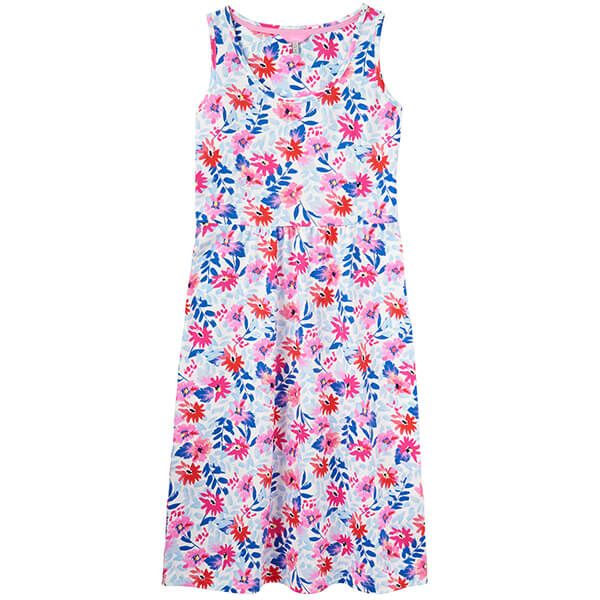 Joules Gabriella White Multi Floral Sleeveless Jersey Dress
