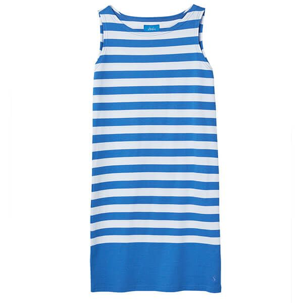 Joules Riva Blue Cream Stripe Sleeveless Jersey Dress Size 14