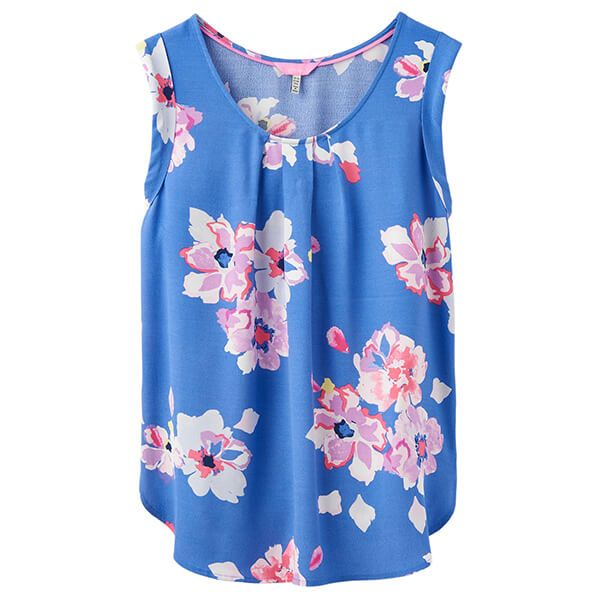Joules Alyse Blue Floral Sleeveless Woven Top Size 16