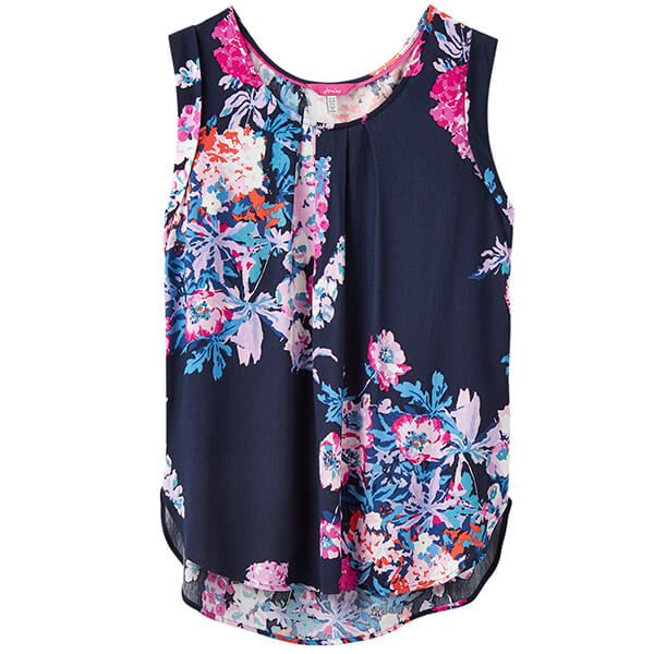 Joules Alyse Navy Floral Sleeveless Woven Top Size 14