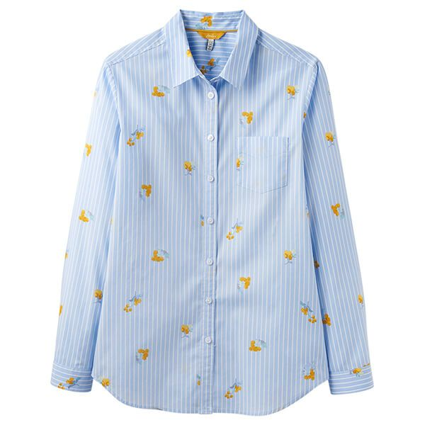 Joules Lucie Blue Floral Stripe Printed Stripe Woven Shirt