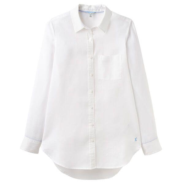 Joules Jeanne White Blue Plain Longline Linen Shirt