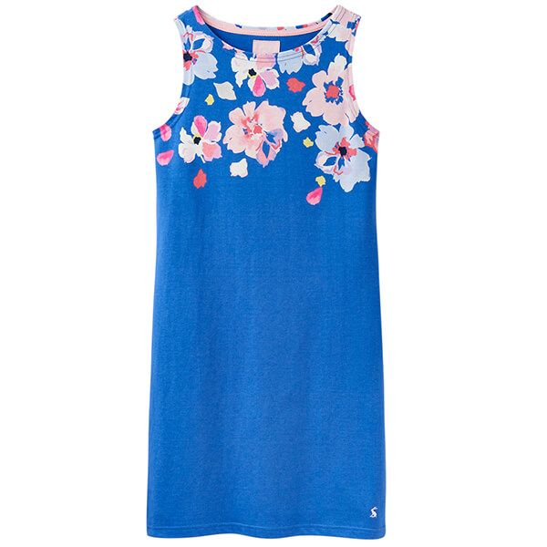 Joules Riva Print Mid Blue Border Floral Sleeveless Jersey Dress Size 14