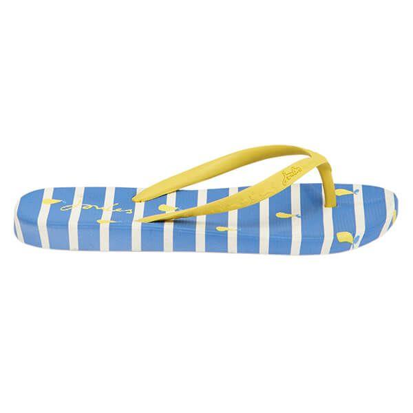 Joules Womens Blue Pear Stripe Flip Flops Size 5
