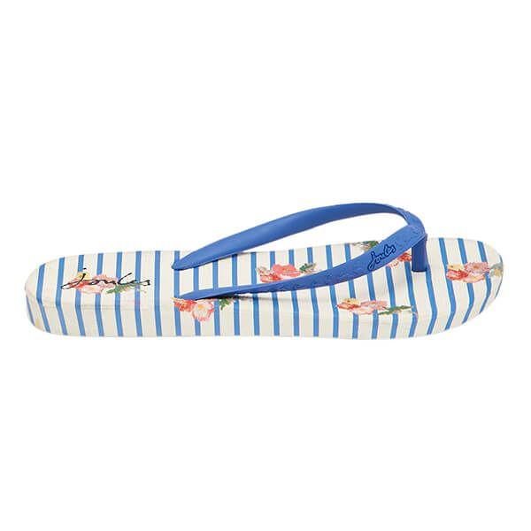 Joules Womens Blue Floral Stripe Flip Flops
