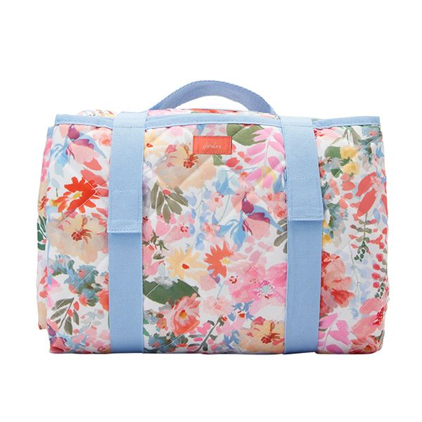 Joules White Floral Water Resistant Fold Up Printed Picnic Rug