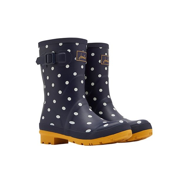 Joules French Navy Spot Molly Mid Height Printed Wellies