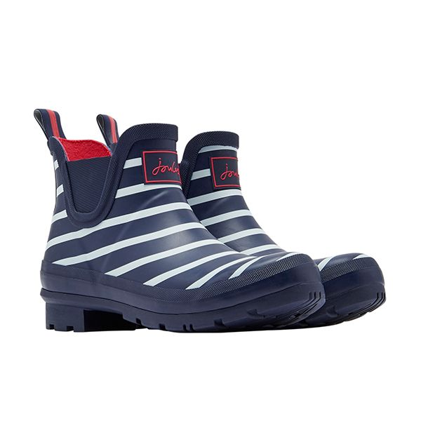 Joules Wellibob French Navy Stripe Short Height Wellies Size 4