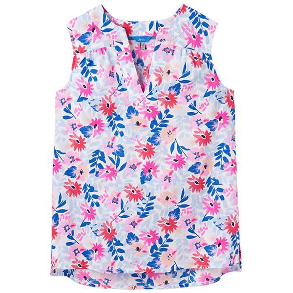 Joules Juliette Print White Multi Floral Sleeveless V Neck Top Size 20